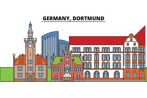 Germany, Dortmund. City skyline, architecture, buildings, streets, silhouette, landscape, panorama, landmarks. Editable strokes. Flat design line vector illustration concept. Isolated icons