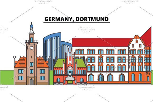 Germany Dortmund City Skyline Architecture Buildings Streets Silhouette Landscape Panorama Landmarks Editable Strokes Flat Design Line Vector Illustration Concept Isolated Icons
