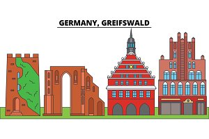 Germany, Greifswald. City skyline, architecture, buildings, streets, silhouette, landscape, panorama, landmarks. Editable strokes. Flat design line vector illustration concept. Isolated icons