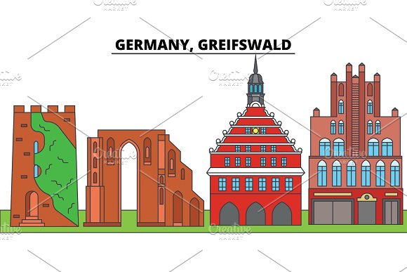 Germany Greifswald City Skyline Architecture Buildings Streets Silhouette Landscape Panorama Landmarks Editable Strokes Flat Design Line Vector Illustration Concept Isolated Icons