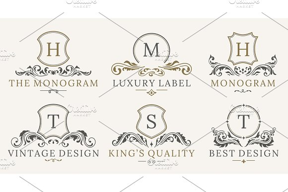 Retro Royal Vintage Shields Logotype Set Vector Calligraphyc Luxury Logo Design Elements Business Signs Logos Identity Spa Hotels Badges