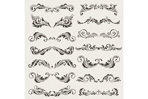 Vector set of Swirl Elements for design. Calligraphic page decoration, Labels, banners, antique and baroque Frames floral ornaments. Old paper