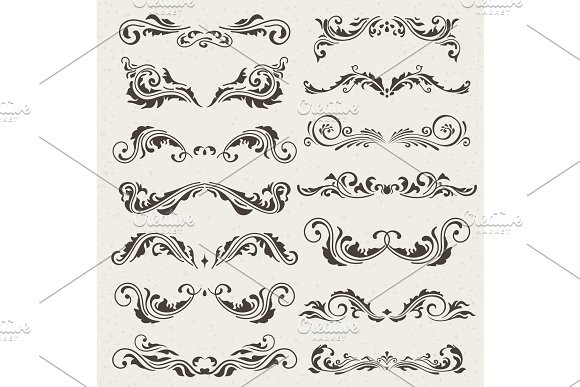 Vector Set Of Swirl Elements For Design Calligraphic Page Decoration Labels Banners Antique And Baroque Frames Floral Ornaments Old Paper
