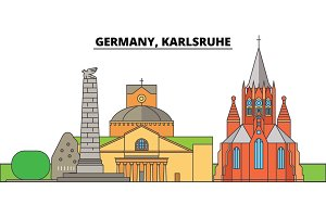 Germany, Karlsruhe. City skyline, architecture, buildings, streets, silhouette, landscape, panorama, landmarks. Editable strokes. Flat design line vector illustration concept. Isolated icons