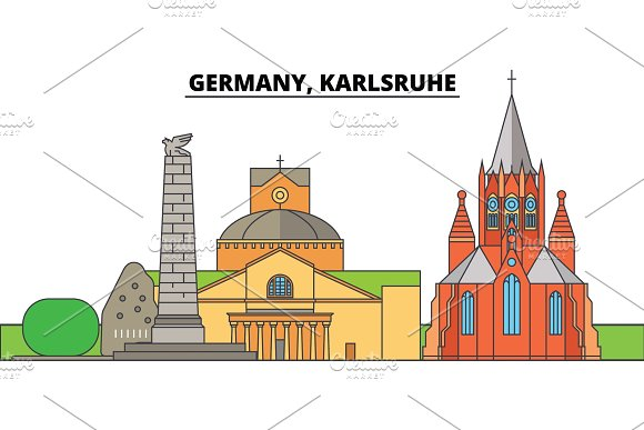 Germany Karlsruhe City Skyline Architecture Buildings Streets Silhouette Landscape Panorama Landmarks Editable Strokes Flat Design Line Vector Illustration Concept Isolated Icons