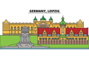 Germany, Leipzig. City skyline, architecture, buildings, streets, silhouette, landscape, panorama, landmarks. Editable strokes. Flat design line vector illustration concept. Isolated icons