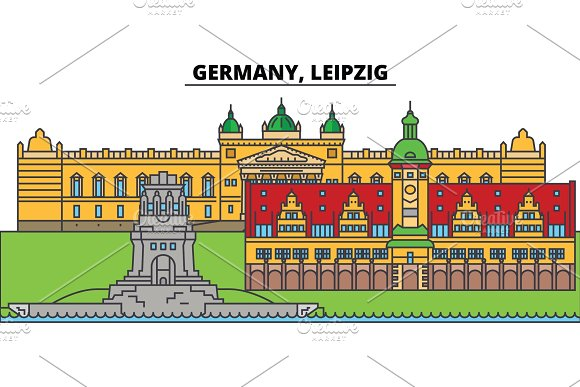 Germany Leipzig City Skyline Architecture Buildings Streets Silhouette Landscape Panorama Landmarks Editable Strokes Flat Design Line Vector Illustration Concept Isolated Icons