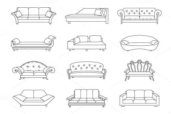 Sofa Colored Vector Set Collection Of Sofa Illustration Stock Vector Coloring Book