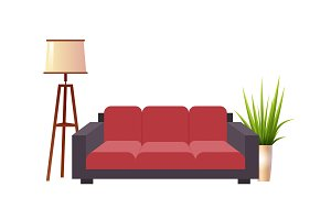 Realistic red sofa with floor lamp and flowerpot interior vector illustration