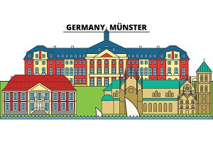Germany, Munster. City skyline, architecture, buildings, streets, silhouette, landscape, panorama, landmarks. Editable strokes. Flat design line vector illustration concept. Isolated icons
