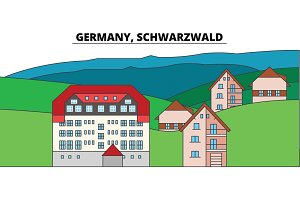 Germany, Schwarzwald. City skyline, architecture, buildings, streets, silhouette, landscape, panorama, landmarks. Editable strokes. Flat design line vector illustration concept. Isolated icons