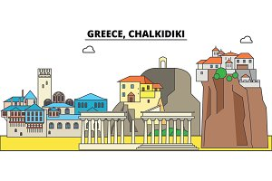 Greece, Chalkidiki. City skyline, architecture, buildings, streets, silhouette, landscape, panorama, landmarks. Editable strokes. Flat design line vector illustration concept. Isolated icons