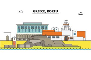 Greece, Korfu. City skyline, architecture, buildings, streets, silhouette, landscape, panorama, landmarks. Editable strokes. Flat design line vector illustration concept. Isolated icons