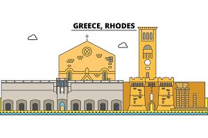Greece, Rhodes. City skyline, architecture, buildings, streets, silhouette, landscape, panorama, landmarks. Editable strokes. Flat design line vector illustration concept. Isolated icons