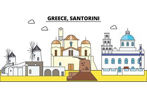 Greece, Santorini. City skyline, architecture, buildings, streets, silhouette, landscape, panorama, landmarks. Editable strokes. Flat design line vector illustration concept. Isolated icons