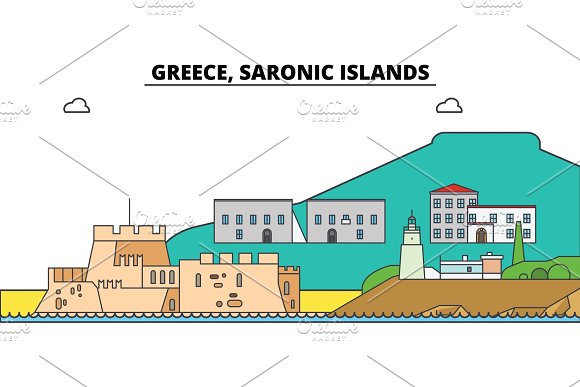 Greece Saronic Islands City Skyline Architecture Buildings Streets Silhouette Landscape Panorama Landmarks Editable Strokes Flat Design Line Vector Illustration Concept Isolated Icons