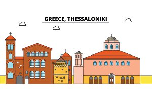 Greece, Thessaloniki. City skyline, architecture, buildings, streets, silhouette, landscape, panorama, landmarks. Editable strokes. Flat design line vector illustration concept. Isolated icons
