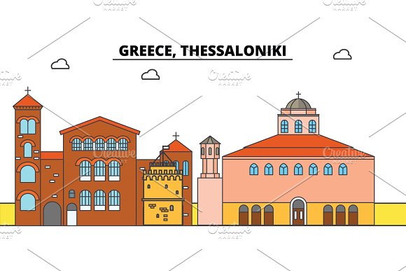 Greece Thessaloniki City Skyline Architecture Buildings Streets Silhouette Landscape Panorama Landmarks Editable Strokes Flat Design Line Vector Illustration Concept Isolated Icons