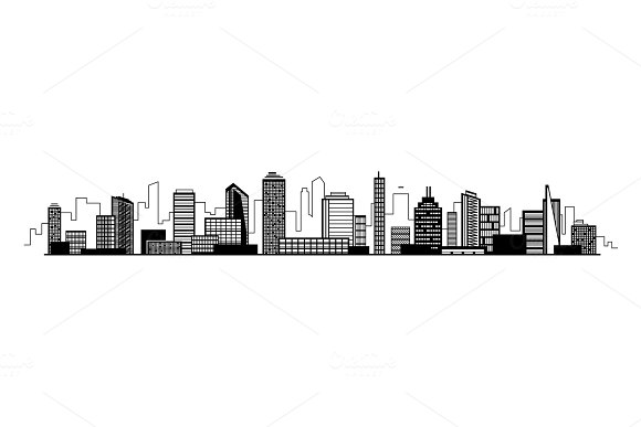 Vector City Silhouette Icon With Windows Vector Illustration