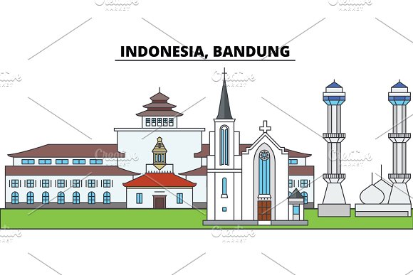 Indonesia Bandung City Skyline Architecture Buildings Streets Silhouette Landscape Panorama Landmarks Editable Strokes Flat Design Line Vector Illustration Concept Isolated Icons