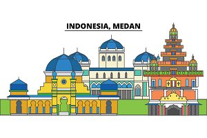 Indonesia, Medan. City skyline, architecture, buildings, streets, silhouette, landscape, panorama, landmarks. Editable strokes. Flat design line vector illustration concept. Isolated icons