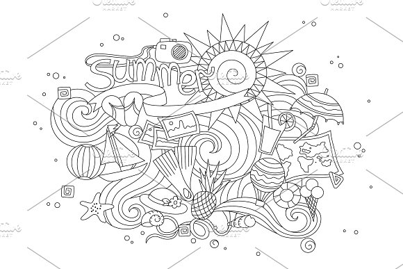 Summer Black Hand Drawn Thin Line Coloring Book Isolated On White Background Seasonal Greeting With Word Summer Doodle Summer Card With Floral Elements Vector