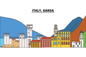 Italy, Garda. City skyline, architecture, buildings, streets, silhouette, landscape, panorama, landmarks. Editable strokes. Flat design line vector illustration concept. Isolated icons