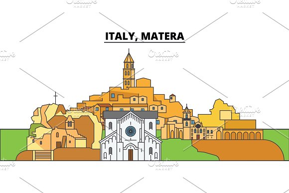 Italy Matera City Skyline Architecture Buildings Streets Silhouette Landscape Panorama Landmarks Editable Strokes Flat Design Line Vector Illustration Concept Isolated Icons