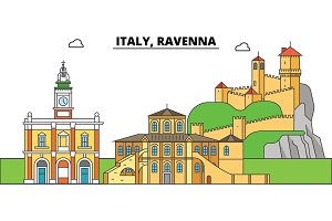 Italy, Ravenna. City skyline, architecture, buildings, streets, silhouette, landscape, panorama, landmarks. Editable strokes. Flat design line vector illustration concept. Isolated icons