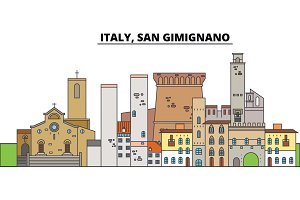 Italy, San Gimignano. City skyline, architecture, buildings, streets, silhouette, landscape, panorama, landmarks. Editable strokes. Flat design line vector illustration concept. Isolated icons