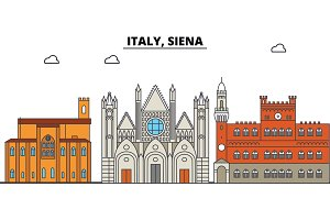 Italy, Siena. City skyline, architecture, buildings, streets, silhouette, landscape, panorama, landmarks. Editable strokes. Flat design line vector illustration concept. Isolated icons