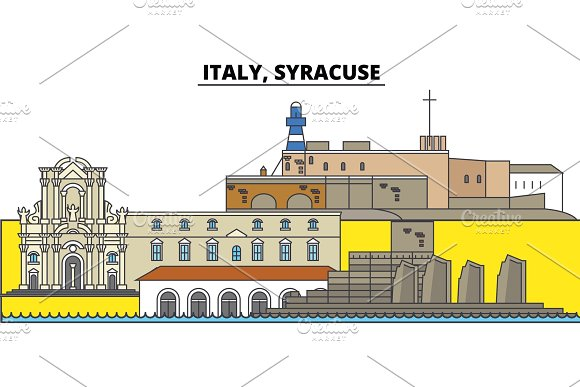 Italy Syracuse City Skyline Architecture Buildings Streets Silhouette Landscape Panorama Landmarks Editable Strokes Flat Design Line Vector Illustration Concept Isolated Icons