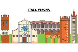 Italy, Verona. City skyline, architecture, buildings, streets, silhouette, landscape, panorama, landmarks. Editable strokes. Flat design line vector illustration concept. Isolated icons