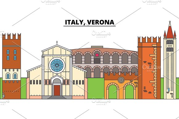 Italy Verona City Skyline Architecture Buildings Streets Silhouette Landscape Panorama Landmarks Editable Strokes Flat Design Line Vector Illustration Concept Isolated Icons