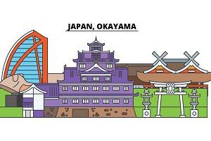 Japan, Okayama. City skyline, architecture, buildings, streets, silhouette, landscape, panorama, landmarks. Editable strokes. Flat design line vector illustration concept. Isolated icons