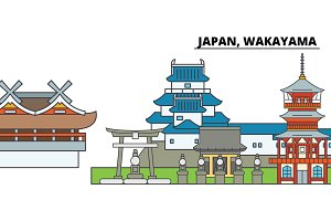 Japan, Wakayama. City skyline, architecture, buildings, streets, silhouette, landscape, panorama, landmarks. Editable strokes. Flat design line vector illustration concept. Isolated icons