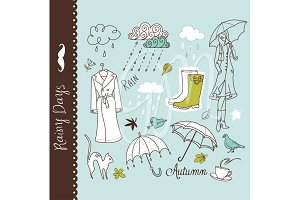 Rainy day clip art, umbrella doodles