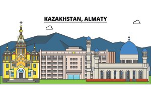 Kazakhstan, Almaty. City skyline, architecture, buildings, streets, silhouette, landscape, panorama, landmarks. Editable strokes. Flat design line vector illustration concept. Isolated icons