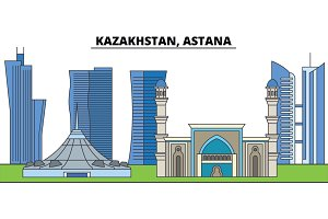 Kazakhstan, Astana. City skyline, architecture, buildings, streets, silhouette, landscape, panorama, landmarks. Editable strokes. Flat design line vector illustration concept. Isolated icons