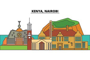 Kenya, Nairobi. City skyline, architecture, buildings, streets, silhouette, landscape, panorama, landmarks. Editable strokes. Flat design line vector illustration concept. Isolated icons
