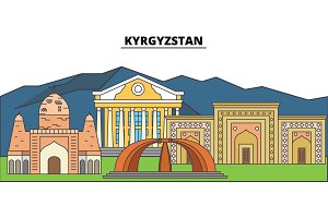 Kyrgyzstan. City skyline, architecture, buildings, streets, silhouette, landscape, panorama, landmarks. Editable strokes. Flat design line vector illustration concept. Isolated icons