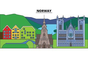 Norway. City skyline, architecture, buildings, streets, silhouette, landscape, panorama, landmarks. Editable strokes. Flat design line vector illustration concept. Isolated icons