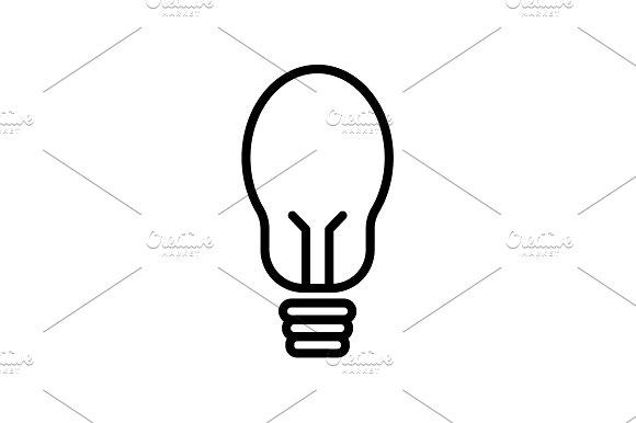 Web Line Icon Light Bulb Black