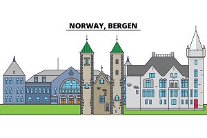 Norway, Bergen. City skyline, architecture, buildings, streets, silhouette, landscape, panorama, landmarks. Editable strokes. Flat design line vector illustration concept. Isolated icons