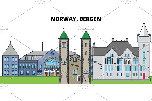 Norway Bergen City Skyline Architecture Buildings Streets Silhouette Landscape Panorama Landmarks Editable Strokes Flat Design Line Vector Illustration Concept Isolated Icons