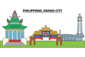 Philippines, Davao City. City skyline, architecture, buildings, streets, silhouette, landscape, panorama, landmarks. Editable strokes. Flat design line vector illustration concept. Isolated icons
