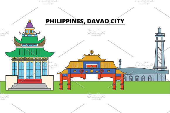 Philippines Davao City City Skyline Architecture Buildings Streets Silhouette Landscape Panorama Landmarks Editable Strokes Flat Design Line Vector Illustration Concept Isolated Icons
