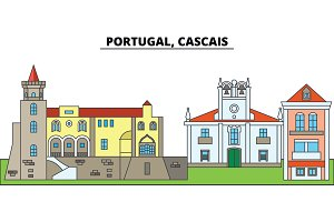 Portugal, Cascais. City skyline, architecture, buildings, streets, silhouette, landscape, panorama, landmarks. Editable strokes. Flat design line vector illustration concept. Isolated icons
