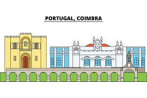 Portugal, Coimbra. City skyline, architecture, buildings, streets, silhouette, landscape, panorama, landmarks. Editable strokes. Flat design line vector illustration concept. Isolated icons
