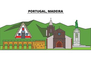 Portugal, Madeira. City skyline, architecture, buildings, streets, silhouette, landscape, panorama, landmarks. Editable strokes. Flat design line vector illustration concept. Isolated icons